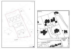 Shows the new plans for 7 houses against 2014 layout of 3 houses