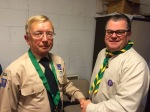 Terence Rathbone receives Chief Scout's Award from David Giles