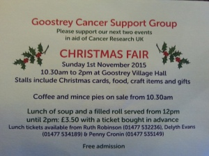 201511 Cancer xmas fair