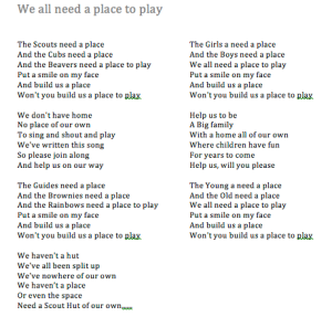 Song for Scout Hut/Youth Centre