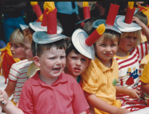 1992 Goostrey Rose Day float with Paul Bennett in yellow