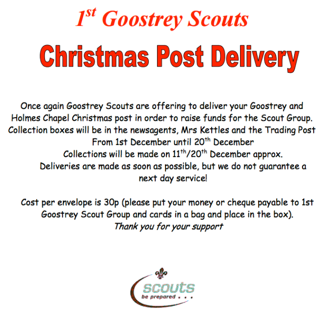 Goostrey Scouts' Christmas Post 30p