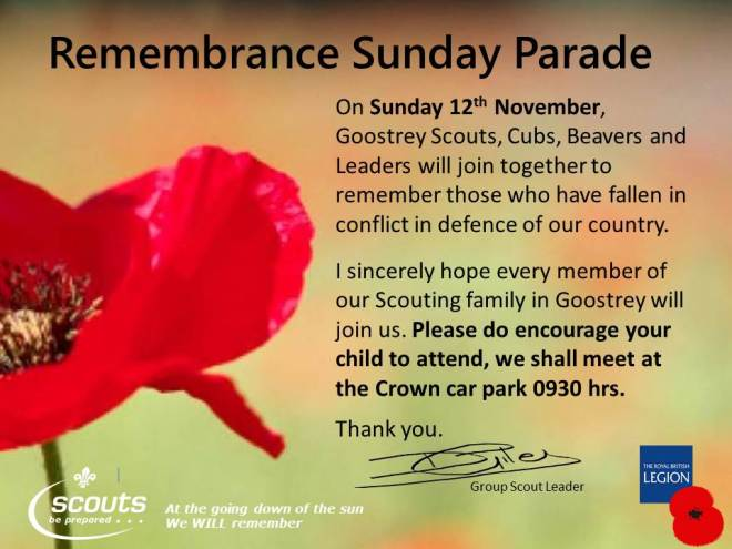 Remembrance Sunday Goostrey Scouts
