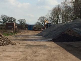 earthworks at ex MoD site Twemlow Lane entrance